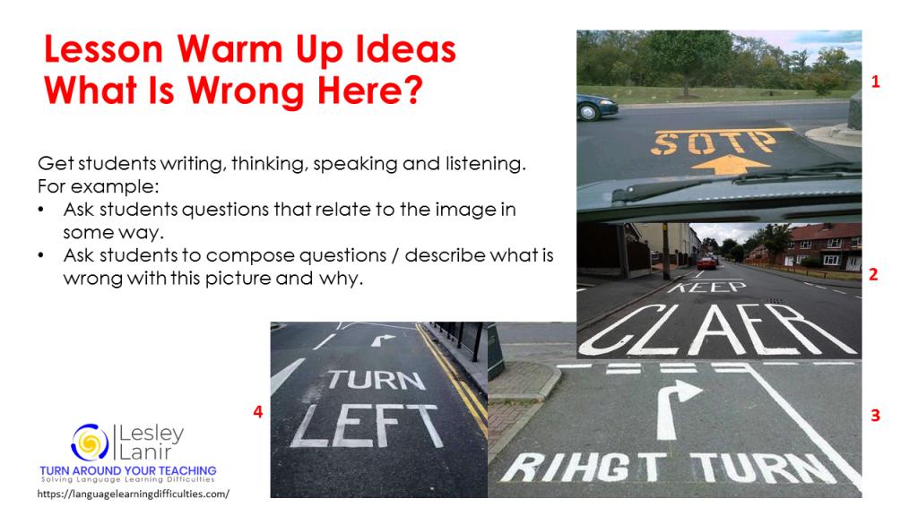 Lesson warm up idea - English teaching https://languagelearningdifficulties.com/