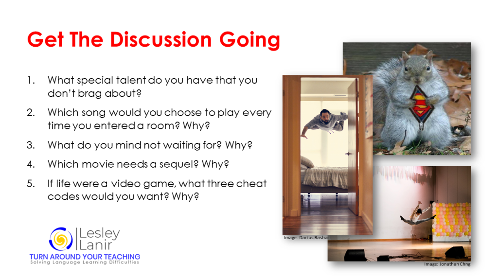 Teaching resources discussion ideas Lesson warm up idea - English teaching https://languagelearningdifficulties.com/